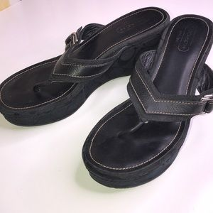 COACH High Wedge Sandal Black Fabric Size 9 Med
